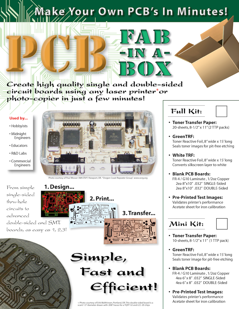 Pcb Fab In A Box The 8min Circuit Board System How To Make Your Own Boards Easy Way Starter Kit